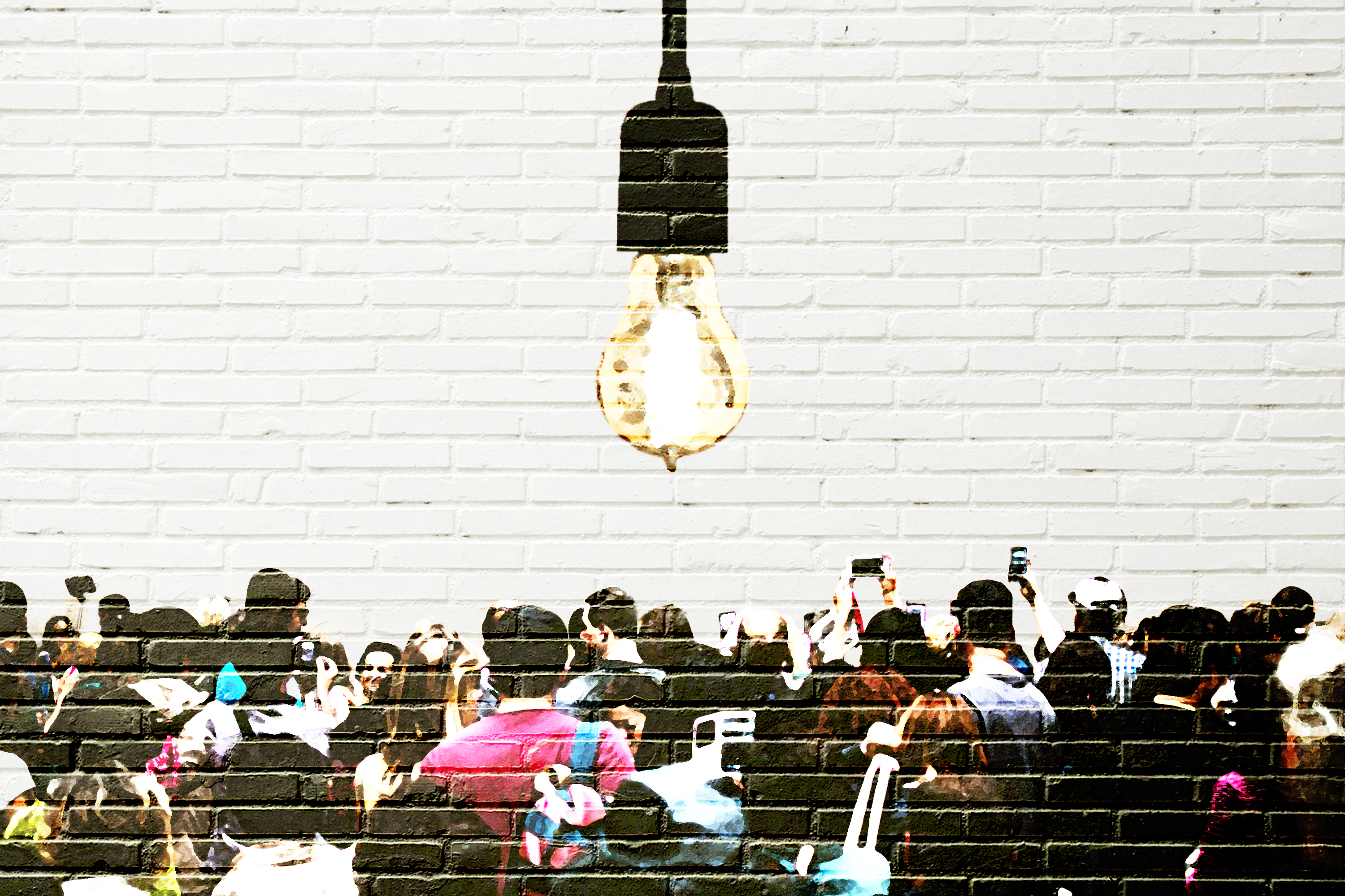 People Crowding Under A Light Bulb, Wall Art